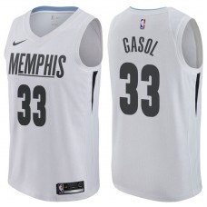 2017-18 Season Marc Gasol Memphis Grizzlies #33 City Edition White Swingman Jersey