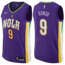 2017-18 Season Rajon Rondo New Orleans Pelicans #9 City Edition Purple Swingman Jersey