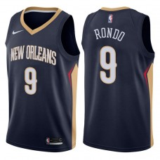 2017-18 Season Rajon Rondo New Orleans Pelicans #9 Icon Navy Swingman Jersey