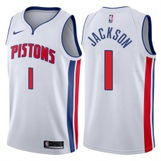 2017-18 Season Reggie Jackson Detroit Pistons #1 Association White Swingman Jersey
