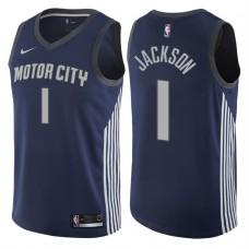 2017-18 Season Reggie Jackson Detroit Pistons #1 City Edition Navy Swingman Jersey