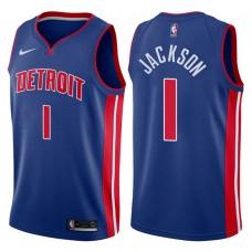 2017-18 Season Reggie Jackson Detroit Pistons #1 Icon Blue Swingman Jersey