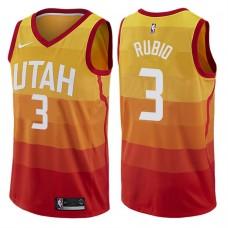 2017-18 Season Ricky Rubio Utah Jazz #3 City Edition Red Swingman Jersey