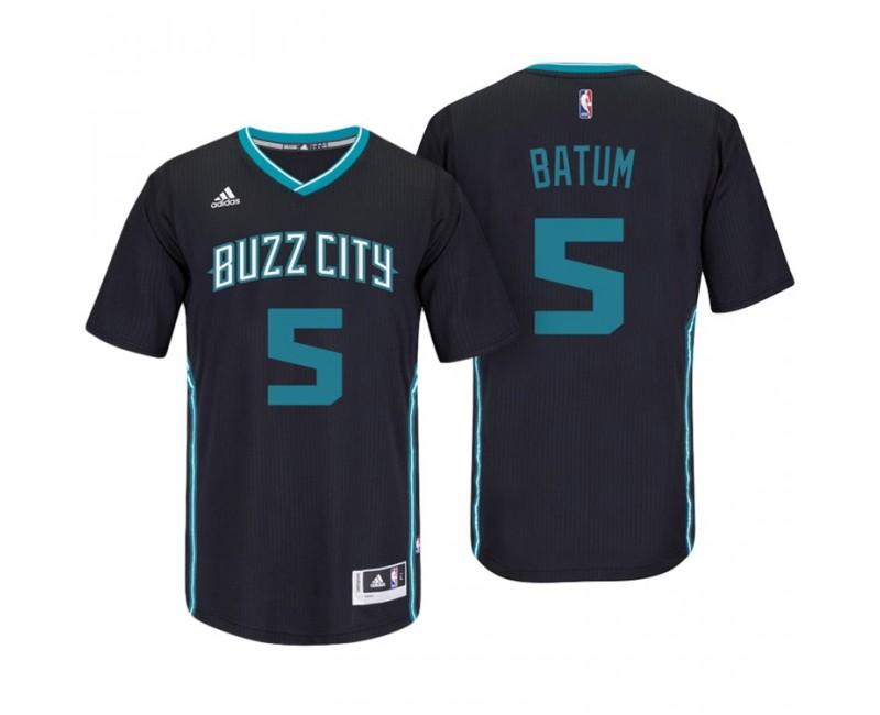 Nicolas Batum Charlotte Hornets #5 Black Buzz City Pride Sleeved ...