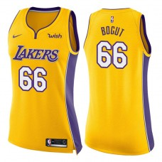 Women's 2017-18 Season Andrew Bogut Los Angeles Lakers #66 Icon Yellow Swingman Jersey