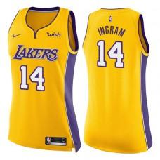 Women's 2017-18 Season Brandon Ingram Los Angeles Lakers #14 Icon Yellow Swingman Jersey