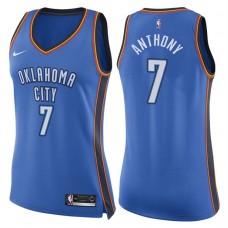 Women's 2017-18 Season Carmelo Anthony Oklahoma City Thunder #7 Icon Blue Swingman Jersey