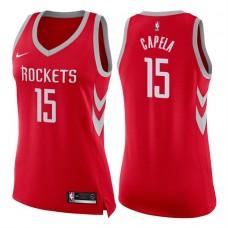 Women's 2017-18 Season Clint Capela Houston Rockets #15 Icon Red Swingman Jersey
