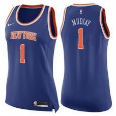 Women's 2017-18 Season Emmanuel Mudiay New York Knicks #1 Icon Blue Swingman Jersey