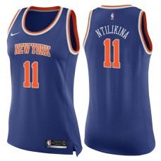 Women's 2017-18 Season Frank Ntilikina New York Knicks #11 Icon Blue Swingman Jersey