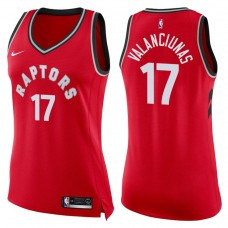 Women's 2017-18 Season Jonas Valanciunas Toronto Raptors #17 Icon Red Swingman Jersey