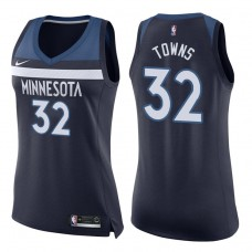 Women's 2017-18 Season Karl-Anthony Towns Minnesota Timberwolves #32 Icon Navy Swingman Jersey