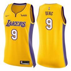 Women's 2017-18 Season Luol Deng Los Angeles Lakers #9 Icon Yellow Swingman Jersey