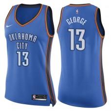 Women's 2017-18 Season Paul George Oklahoma City Thunder #13 Icon Blue Swingman Jersey