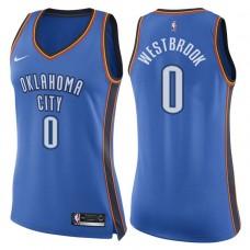 Women's 2017-18 Season Russell Westbrook Oklahoma City Thunder #0 Icon Blue Swingman Jersey
