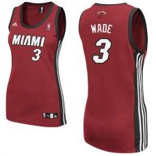 Women's Dwyane Wade Miami Heat #3 Red Jersey