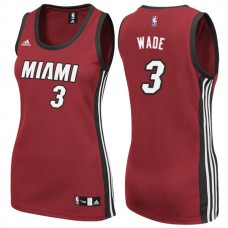 Women's Womens Miami Heat #3 Dwyane Wade New Swingman Fashion Red Jersey