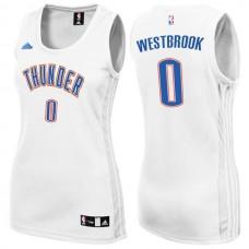 Women's Womens Oklahoma City Thunder #0 Russell Westbrook New Swingman Fashion White Jersey