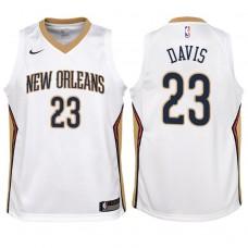 Youth 2017-18 Season Anthony Davis New Orleans Pelicans #23 Association White Swingman Jersey