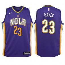 Youth 2017-18 Season Anthony Davis New Orleans Pelicans #23 City Edition Purple Swingman Jersey