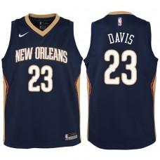Youth 2017-18 Season Anthony Davis New Orleans Pelicans #23 Icon Navy Swingman Jersey