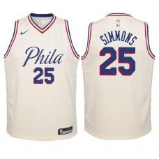 Youth 2017-18 Season Ben Simmons Philadelphia 76ers #25 City Edition Cream Swingman Jersey