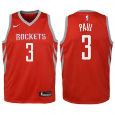 Youth 2017-18 Season Chris Paul Houston Rockets #3 Icon Red Swingman Jersey