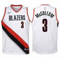 Youth 2017-18 Season CJ McCollum Portland Trail Blazers #3 Association White Swingman Jersey