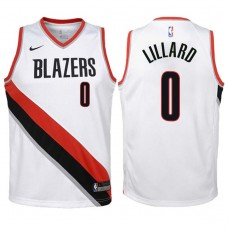 Youth 2017-18 Season Damian Lillard Portland Trail Blazers #0 Association White Swingman Jersey