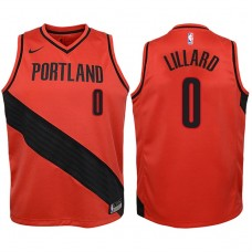 Youth 2017-18 Season Damian Lillard Portland Trail Blazers #0 Statement Red Swingman Jersey