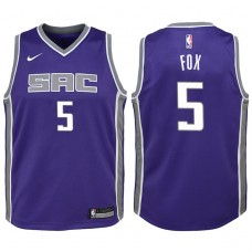 Youth 2017-18 Season De'Aaron Fox Sacramento Kings #5 Icon Purple Swingman Jersey