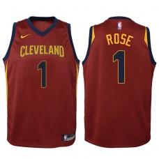 Youth 2017-18 Season Derrick Rose Cleveland Cavaliers #1 Icon Maroon Swingman Jersey