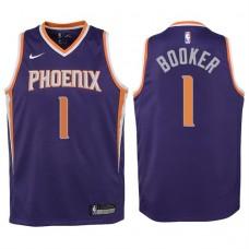 Youth 2017-18 Season Devin Booker Phoenix Suns #1 Icon Purple Swingman Jersey