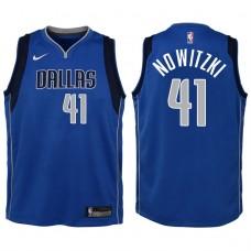 Youth 2017-18 Season Dirk Nowitzki Dallas Mavericks #41 Icon Blue Swingman Jersey