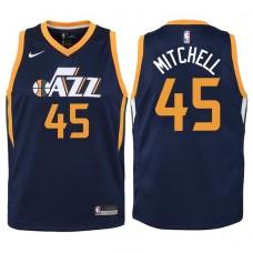 Youth 2017-18 Season Donovan Mitchell Utah Jazz #45 Icon Navy Swingman Jersey