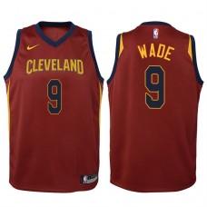 Youth 2017-18 Season Dwyane Wade Cleveland Cavaliers #9 Icon Maroon Swingman Jersey