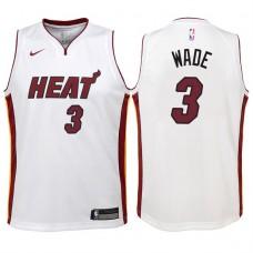 Youth 2017-18 Season Dwyane Wade Miami Heat #3 Association White Swingman Jersey