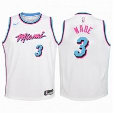 Youth 2017-18 Season Dwyane Wade Miami Heat #3 City Edition White Swingman Jersey