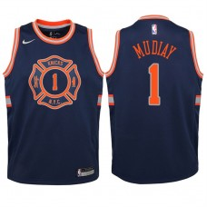 Youth 2017-18 Season Emmanuel Mudiay New York Knicks #1 City Edition Navy Swingman Jersey