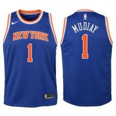 Youth 2017-18 Season Emmanuel Mudiay New York Knicks #1 Icon Blue Swingman Jersey