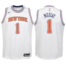 Youth 2017-18 Season Emmanuel Mudiay New York Knicks #1 Statement White Swingman Jersey