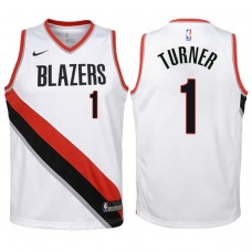 Youth 2017-18 Season Evan Turner Portland Trail Blazers #1 Association White Swingman Jersey