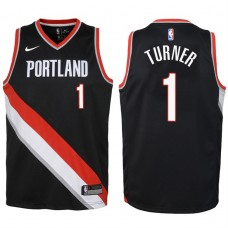 Youth 2017-18 Season Evan Turner Portland Trail Blazers #1 Icon Black Swingman Jersey