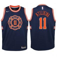 Youth 2017-18 Season Frank Ntilikina New York Knicks #11 City Edition Navy Swingman Jersey