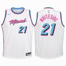 Youth 2017-18 Season Hassan Whiteside Miami Heat #21 City Edition White Swingman Jersey