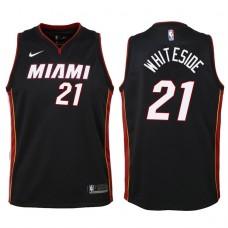 Youth 2017-18 Season Hassan Whiteside Miami Heat #21 Icon Black Swingman Jersey