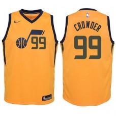 Youth 2017-18 Season Jae Crowder Utah Jazz #99 Statement Yellow Swingman Jersey