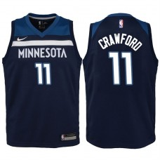 Youth 2017-18 Season Jamal Crawford Minnesota Timberwolves #11 Icon Navy Swingman Jersey