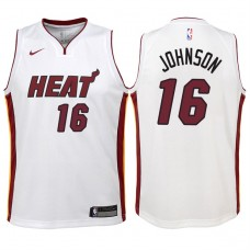 Youth 2017-18 Season James Johnson Miami Heat #16 Association White Swingman Jersey