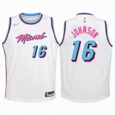 Youth 2017-18 Season James Johnson Miami Heat #16 City Edition White Swingman Jersey